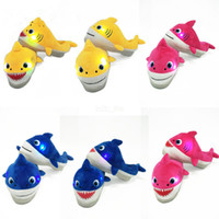 Wholesale leather slippers kids resale online - 22CM Kids Baby Shark Led Plush Shoes Slippers with music Cartoon Sweet Warm Unisex Slippers Children Slip On Household Hoom Shoes LJJA2675