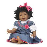 улыбающиеся куклы оптовых-55 см силиконовые возрождается черная кожа девушка кукла игрушки 22 дюймов винил новорожденный Принцесса малыш улыбка дети кукла день рождения рождественские подарки