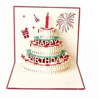 cartão 3d do bolo feito à mão venda por atacado-Cartão 3d Bolo De Aniversário 3d Pop Up Presente Cartões de Bênção De Saudação Handmade Papel Silhoue Criativo Feliz Natal Cartões