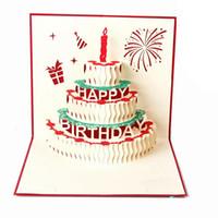 pop up tarjetas de pastel al por mayor-Tarjeta 3d Pastel de cumpleaños Pop-up 3d Regalo Tarjetas de bendición de felicitación Papel hecho a mano Silhoue Creative Happy Christmas Cards