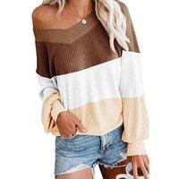 blusas femininas sexy venda por atacado-Designer lst910112 Womens Sweater Gradiente Tops for Girls Sexy decote em V camisola New Moda Estilo Hot Selling 2019 Autumn 4 cores