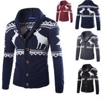 chaqueta de navidad para hombre al por mayor-Mens Sweater Deer Cardigan Abrigo Casual Suéteres de Navidad Otoño Invierno Cardigan prendas de punto Chaqueta de Navidad Ropa para el hogar 4 Color HH7-1920