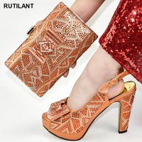 Wholesale italian shoes bags sets for sale - Group buy Fashion African Wedding Italian Shoe and Bag Sets Ladies Italian Shoes and Bag Set Decorated with Rhinestone Pumps Women Shoes