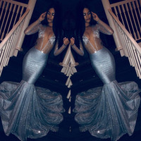 Wholesale glitter mermaid evening dress for sale - Group buy Glitter Sexy Deep V Neck Mermaid Prom Dresses Sparkly See Through Long Sleeved Evening Gowns Plus Size Sequin Crystal Pageant Dress