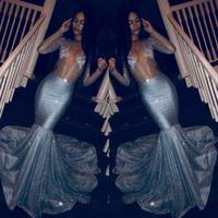 robe de soirée courte sirène achat en gros de-Glitter Sexy robes de bal de sirène col en V profond 2019 Sparkly Voir à travers de longues robes de soirée à manches longues, plus la taille Sequin Crystal Pageant