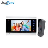 Wholesale video entry phones resale online - JeaTone Video Doorphone Intercom Systems On door Speakerphone Pin Hole Camera Home Security Video Door Phone Kit Door Entry System