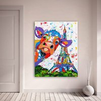 Wholesale canvas print unframed for sale - Group buy Wall Art Canvas Painting Animal Cow Effiel Tower Picture Prints Home Decor No Frame Dropshipping Cute Colorful Cow