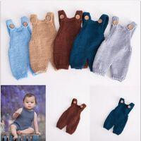 roupas de bebê tricotadas à mão venda por atacado-Macacões de lã para crianças Roupas fotográficas neonatais Malas de mão tricotadas em algodão para fotografias de bebê