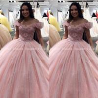 Wholesale floor length prom ball dress resale online - Pink Quinceanera Dresses Ball Gown Applique Lace Crystal Prom Debutante Sweet Dress Corset vestidos de anos