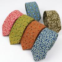 Wholesale mens ties flowers resale online - Flower Soft Mens Cotton Necktie Bright Check Artificial Skinny Ties Men business Small Tie Designer