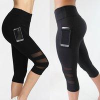 baldır tozlukları toptan satış-Buzağı uzunlukta Pantolon Capri Pantolon Spor tozluk Kadın Spor Yoga Spor Yüksek Bel Legging Kız Siyah Örgü 3/4 Yoga Pantolon kadın