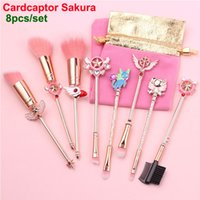 Wholesale magical eyebrow resale online - Sakura Makeup Brushes Set Cardcaptor Sakura Metallic Magical Girl Rose Gold Cosmetic Brushes Cute Pink Bag Face Eyes Lips Eyebrow DHL