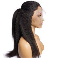 perruque droite en dentelle crépue achat en gros de-Perruque de dentelle brésilienne Kinky Straight Perruques Avec des cheveux de bébé Remy 13x4 avant de lacet Perruques de cheveux humains pour les femmes Noir 150% Pré Plumé