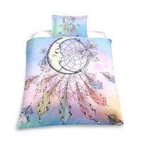 Wholesale new moon bedding for sale - Group buy Rainbow Moon Bedding Set Twin Full Queen Size for girls Duvet Cover Set Dreamcatcher Series Pink Bedspreads NEW