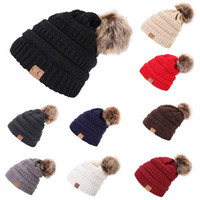 Wholesale trendy fedora resale online - Unisex CC Knitted Hats CC Trendy Winter Fur Poms Beanie Label Crochet Hat Fedora Chunky Skull Caps Outdoor Warm Headgear Oversiz Cap Color