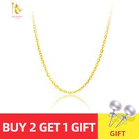 Wholesale costs chain resale online - NYMPH Genuine K White Yellow Rose Gold Chain Cost Price Sale Pure Gold Necklace Best Gift For Women G1001 SH190930
