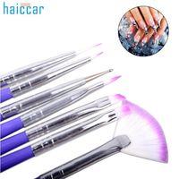 juegos de uñas para mujeres al por mayor-Uñas bellas mujeres de lujo 7pcs del diseño del arte del cepillo del sistema Pen pintura polaca Consejos Oct 31 de