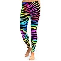 zebra çizgileri ince toptan satış-Toptan SexeMara Kadınlar Spor Spor Tayt Koşu Gym Tayt Seksi Renk Baskılı Zebra Çizgili Kapriler Ince Yüksek Bel Leggins