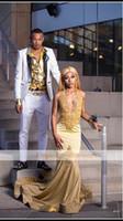 arabisch sexy bild großhandel-Abendkleider Amazing Gold Mermaid Prom Kleider Arabian Halter Pailletten Abendgarderobe Kleider Spitze Applique Prom Partykleid Real Pictures