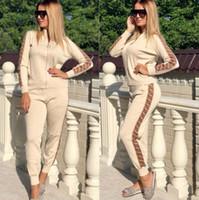 kadınlar polyester pamuk üstleri toptan satış-Moda pamuk karışımı Kadın Kapüşonlu Eşofman uzun kollu Tops + Uzun Pantolon Set Rahat Hoodies Kıyafetler Spor Eşofman Yeni Varış