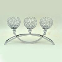 ingrosso decorazioni candelabri-Candelabro in cristallo argento per centrotavola per matrimoni Tealight Portacandele economico per la decorazione domestica di Halloween di Natale