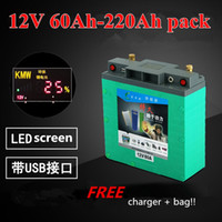 baterias de 12v com energia solar venda por atacado-Ultra-large 12V Capacit / alta potência / 5V USB 100AH, 120AH, 150AH, 180,220AH Bateria Li-polímero para motores de barco / Painel Solar Power Bank