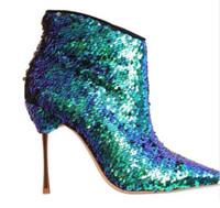 синие ботильоны размер 42 оптовых-Осень зима синие сексуальные ботинки для женщин на высоких каблуках с острым носом на молнии. Ботильоны модные пинетки размер 35-42