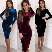 Wholesale one piece ladies clothes online - New Women Outdoor Fashion One Piece Dress Autumn Lady Slim Elastic Skirt Women Party Clothes Velvet Red yd Ww
