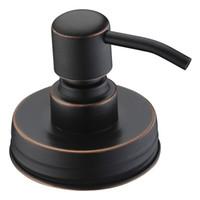 ingrosso coperchio dell'olio-Dispensatore di sapone per vasi in muratore bronzo lucidato ad olio con pompa e coperchio in acciaio inossidabile antiruggine liquido - Senza vasetti MMA2070