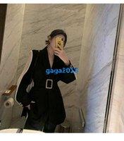 kadın ceketi yaka kemeri toptan satış-High end kadın kızlar kruvaze blazer suit ceketler şal yaka kemer uzun kollu gömlek bluz özel paris moda tasarım lüks üst