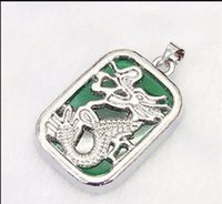 grüne jade drachen anhänger kette großhandel-Halskette Freies Verschiffen ++++ neue grüne Jade Silber überzogene Drache-Totem-hängende Halskette Pendant + Chain
