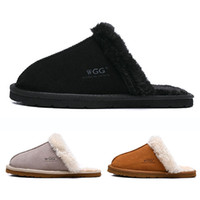 Wholesale womens black moccasin slippers for sale - Group buy New Arrival WGG women Slides winter Luxury Designer Indoor fur Brand womens warm Sandals Slippers House Flip Flops With Spike Sandal