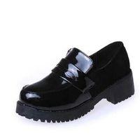 leder japanische mädchen großhandel-JK Japanese Shoes Middle School Schuhe Mädchen Schwarz Leder Runde COS Animation Festival Maid Uniform Wedge Schuhe
