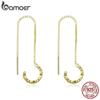 Wholesale lure women resale online - BAMOER Sterling Silver Lure Long Chain Gold Color Geometric Drop Earrings for Women Authentic Silver Jewelry SCE468