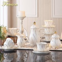 osso incrustado venda por atacado-Europa ouro embutimento Bone China Coffee Set britânica porcelana Tea Set Ceramic Pot Creamer Sugar Bowl Partido Bule Caneca Tea Cup