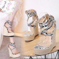 sapatos de cruzamento de animais venda por atacado-Sexy impressão animal palha tecido cruz strappy plataforma sandálias de cunha moda feminina designer de sapatos tamanho 35 a 40
