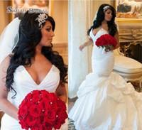 50909b49356d Wholesale sexy wedding dresses petite bride for sale - Sexy V Neck Beaded  Satin Mermaid Wedding