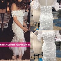 Wholesale pictures maternity wedding dresses for sale - Group buy Elegant Off the Shoulder Wedding Evening Gowns with Lace Flowers Tea length Robe De Soiree Cheap Hot Cocktail Club Bridal Party Gowns