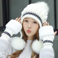 protector de bolas al por mayor-sombrero de lana de invierno de la moda dulce y encantadora tapas de punto de las mujeres versión coreana de protectores de oídos calor en invierno y las bolas de pelo