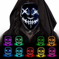 Wholesale v for vendetta cosplay resale online - 10Colors Halloween Mask V for Vendetta LED Light Up Party Masks The Purge Election Year Great Funny Masks Cosplay Supplies Glow In Dark