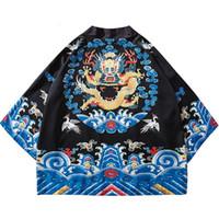 Wholesale chinese long kimono for sale - 2019 Harajuku Kimono Shirts Jacket Japanese Hip Hop Men Streetwear Jacket Ancient Chinese Officer Robe Dragon Summer Thin Retro Style