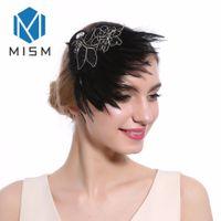 tüy saç klipleri düğün toptan satış-Bayanlar Fascinator Tüy Gelin Düğün Parti Saç Klipleri Saç Bandı Kadın Şapkalar Için Büyüleyici Saç Aksesuarları Tokalar
