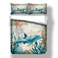 edredón envío gratis al por mayor-Envío gratis regalo de la novedad Sea Grass Dolphin Starfish Print Juego de cama Funda nórdica con funda de almohada Doble tamaño Queen King King Envío de la gota