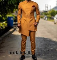 Wholesale chinese tuxedo groom for sale - Group buy Chinese Style Coat Wedding Suits Brown Slim Fit Mens Suits Groom Tuxedos Custom Business Casual Blazer Formal Prom Suits Jacket Pants