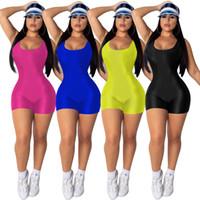 camisa sem costas preta venda por atacado-Mulheres Bicicleta Jersey Curto Sem Mangas de Fitness Romper Yoga Bodysuits Sólidos Colher Pescoço Backless Playsuits Esportes Azul Preto Amarelo Rosa Vermelha