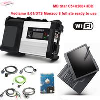 ingrosso laptop esplorazione auto-NUOVA MB STAR C5 con software 2019.03V HDD Car Strumento diagnostico Laptop X200T Scanner SD Connect 5 con funzione wifi per auto / camion