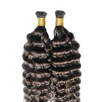 я придерживаюсь оптовых-Итальянская кератиновая палочка I TIP Наращивание человеческих волос # 4 Темно-коричневый Предварительно приклеенная палочка Virgin Mongian Глубокая волна Наращивание волос Remy Free Shippi