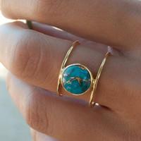 joyas gratis de piedra al por mayor-Diseñador de joyas anillos de solitario kallaite 18k chapado en oro círculos anillos de piedra para las mujeres de moda caliente libre de envío