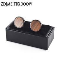 botões de madeira preta venda por atacado-ZDJMEITRXDOOW Madeira camisa abotoaduras moda para homens presente Marca botão manguito rotador preto de madeira de link abotoaduras
