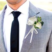 corsage beige venda por atacado-Decor Seda Bege do noivo da flor na lapela de casamento nupcial Mariage buquê de flores broche de Melhor Homem